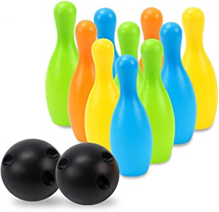 Bowling Action Game Bowling Toy Set Game Colorful Plastic Bowling Ball Pins Party Favors Kit Sport Toddler Educational Toys 12 Pcs Gift For Kids Baby Boys Girls Bowling Toy Set Indoor or Outdoor Games
