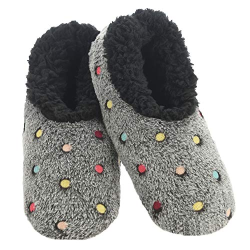 Snoozies Slippers for Women | Lotsa Dots Colorful Cozy Sherpa Slipper Socks | Womens House Slippers | Cozy Slippers for Women | Fuzzy Slippers | Black | Large