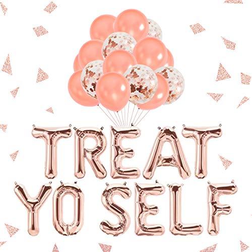 Treat Yo Self Decorations Recepción de oro rosa Mesa de postres Candy Banner Dulces Bar Table Sign Decoraciones Suministros Cumpleaños Compromiso Decoraciones para banquetes de boda