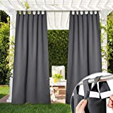 NICETOWN Porch Curtain Outdoor Waterproof 120' Extra Long, Detachable Sticky Tab Top Blackout Indoor Outdoor Living Divider Thermal Insulated Blinds for Patio & Pergola, 52' Wide, Tan, 1 Piece