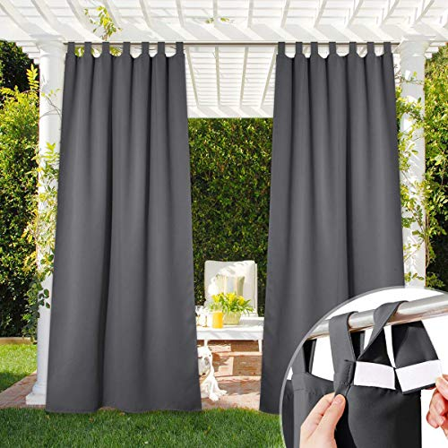 NICETOWN Patio Curtain Outdoor Waterproof 84 Long, Detachable Sticky Tab Top Heavy Weight Blackout Sunblock Window Treatment, Keep Privacy for Gazebo/Dock, 1 Panel, W52 x L84, Grey