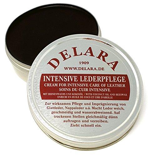 DELARA Intensive Lederpflege, schwarz, 75 ml - Imprägniert und schützt Leder sehr wirksam. Neue Rezeptur mit hochwertigem Kokosöl und Bienenwachs - Made in Germany