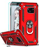 LeYi Compatible for Samsung Galaxy S7 Case with [2 Pack] Tempered Glass Screen Protector, [Military-Grade] Defender Phone Cover Case with Magnetic Car Mount Holder Kickstand for Samsung S7, JSFS Red