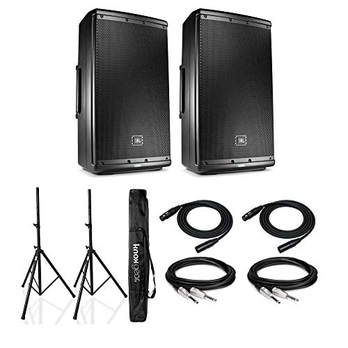 JBL EON612 12-Inch Two-way Multipurpose Self-Powered Sound Reinforcement System Bundle with Knox Gear Heavy Duty Speaker Stands and Cables (7 Items)