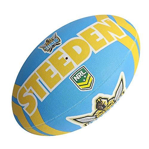 Steeden NRL Gold Coast Titans Supporter 2020 Rugby League Ball Blau/Gelb, blau, 5