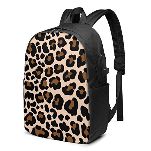 XCNGG Animal Pattern Leopard Travel Laptop Backpack College School Bag Casual Daypack with USB Charging Port