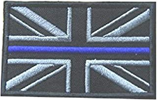 POLICE UNION JACK BADGE THIN BLUE LINE Morale Patch Hook Backing