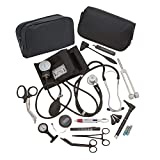 AsaTechmed Complete Diagnostic Blood Pressure, Stethoscope, Otoscope Kit w/Tuning Fork, Neurological Reflex Hammer, EMT Shears || Nurse Starter Kit with Travel Pouch + Accessories (Tactical Black)