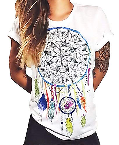 Camiseta Dream Catcher para Mujer - Dreamcatcher - Plumas de Mandala - Símbolo Espiritual - Manga Corta - Idea de Regalo Original - Color Blanco