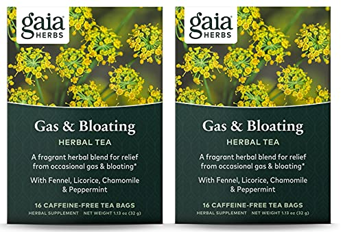 Gaia Herbs Gas and Bloating Tea Bags, 16 Count (Pack of 2)