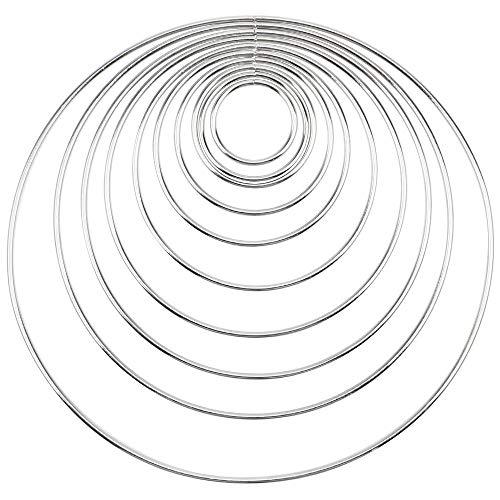 DXLing 10 Stück Silber Metallringe zum Basteln 10 Größen Metallring Hoop Traumfänger Ringe Set Drahtringe zum Basteln Mobile Ring zum Basteln für DIY Hochzeit Kranz Deko Traumfänger Handwerk
