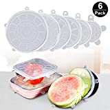 HappenWell Multi Size Silicone Stretch Lids Food Saver Microwave; Freezer Covers for Bowl; Can; Jar; Glassware (Multicolour) - Set of 6