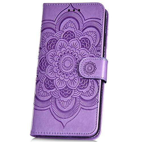 JAWSEU Compatible avec A2 Lite/6 Pro Coque Portefeuille PU Étui Cuir à Rabat Magnétique Mode Soleil Mandala Fleur Motif Slim Stand Leather PU Flip Wallet Case,Violet
