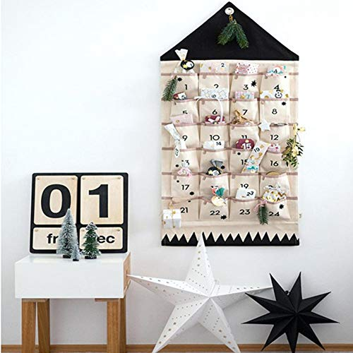 JapanAmStore Christmas Advent Calendar with Pockets Wall Hanging Bag for Home Xmas Countdown Decoration