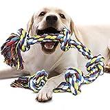 Jouet Chien Corde pour chiens grands et forts, Durable Jouet à macher chien 5 nœuds de corde pour mâcher agressifs, Jouet interactif chien cordes Nettoyage des dents pour chiens de grande taille