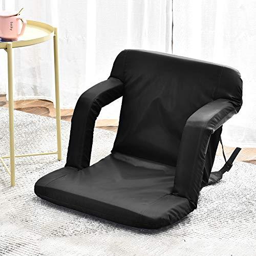 QIHANG-UK Adjustable Floor Chair with Armrest, 5-Angle Foldable Reclining Lazy Sofa Chair,...