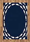 Ambesonne Navy Blue Area Rug, Ocean Aqua Navy Themed Fish Swimming in a Circle Print, Flat Woven Accent Rug for Living Room Bedroom Dining Room, 2.6' x 5', Navy Blue