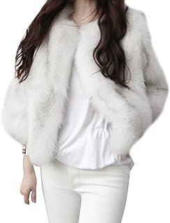 Chaqueta Corta Abrigo De Invierno De Pelo Artificial De Manga Larga Outwear para Mujer