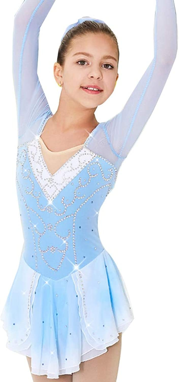 YunNR Simple Handmade Ice Figure Skating Dress For Girls Long Sleeves Roller Skating Skirt Rhinestone Leotard Gymnastics Skating Performance Competition Costume
