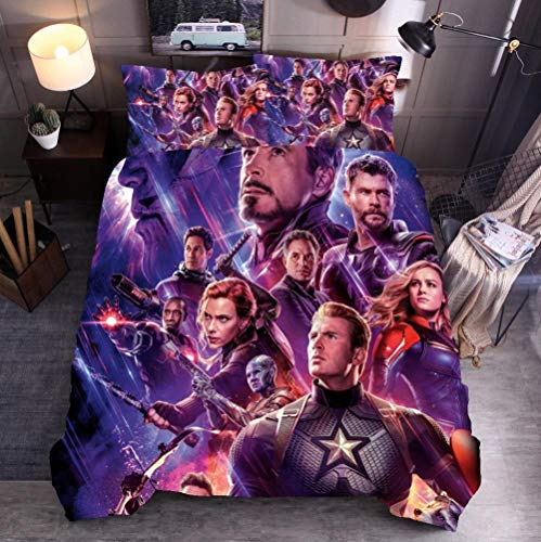 DTBDWOSY 3Pcs Duvet Cover Single 135X200 Cm Movie Characters Boys 3D Print Quilt Cover Girls Comfortable Quilt Cover Breathable Skin-Friendly Bedding Set With 2 Pillowcase
