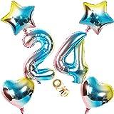 Globos con número 24, número 24, arco iris 24, 24, 80 cm, XL para niñas, niños, hinchables, corazón, helio, estrella, globo, cumpleaños, decoración