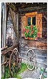 ABAKUHAUS Rustikal Schmaler Duschvorhang, Urlaub auf dem Bauernhof Land, Badezimmer Deko Set aus Stoff mit Haken, 120 x 180 cm, Braun Grün