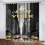 WTBDWOSH® Cortina Opaca En Cocina El Salon Dormitorios Habitación Infantil 3D Impresión Digital Ojales Cortinas Termica - Coches De Calle De La Ciudad De Nueva York - 170X200 Cm (Lxh)