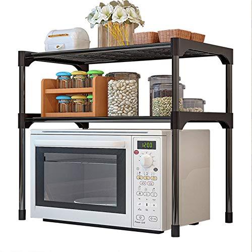 Scaffale per pentole e pentole, con 2 ripiani per forno a microonde, in acciaio inox, regolabile, per cucina, bagno, scaffalature per forno a microonde, dimensioni: 57 x 30 x 48 cm, colore: nero.