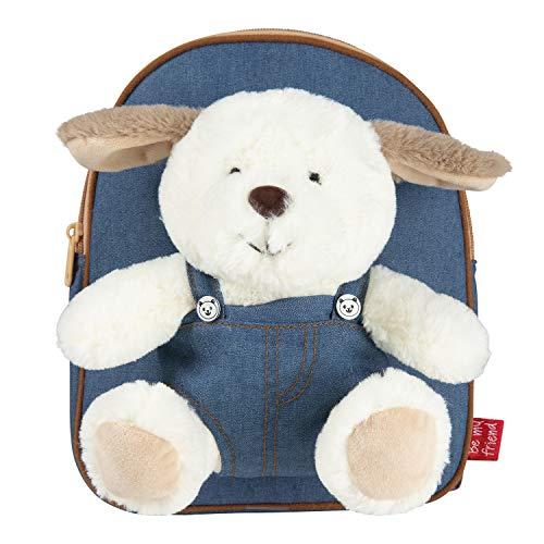 PERLETTI Kuscheltier Welpe Rucksack Kinder mit Plüschtier Hund - Pluschhund Weich Flauschig und Kindergarten Schultasche mit Plüsch Tier Hündchen - Baby 3 4 5 Jahren Kindertasche 26x21x5 cm (Hund)