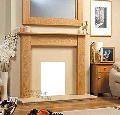 """Gas or Electric Oak Wood Surround Cream Marble Stone Hearth Modern Fireplace Fire Suite 48"""""""