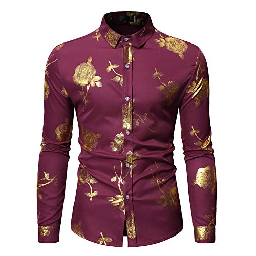 Camisa de Manga Larga para Hombre Primavera y otoño Tendencia de impresión Personalizada Camisa de Manga Larga Camisa de Solapa Ajustada Informal XXL