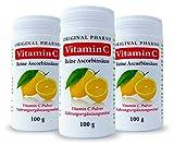 Vitamin C - Reine Ascorbinsäure - Apotheken Qualität 3 x 100 g | 3 Dosen [Original-Pharno]