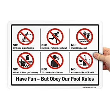 """SmartSign 10 x 14 inch """"Have Fun But Obey Our Pool Rules - No Diving No Running"""" Metal Sign with Symbols 40 mil Laminated Rustproof Aluminum Red Black and White"""