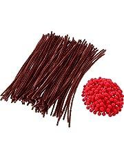 DEZHI 200 Piezas de Pompones Rojos Pompones Mullidos y 100 Piezas de Limpiapipas Tallos de Chenilla para Manualidades Navidad