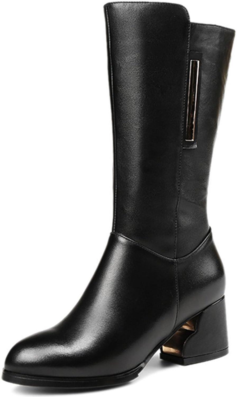 Nine Seven Genuine Leather Women's Round Toe Chunky Heel Side Zip Handmade Black Mid Calf Boots