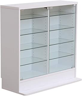 グランデ コレクションラック 深型ロータイプ ガラスコレクションケース 5段 ホワイト PLC-D-900-WH