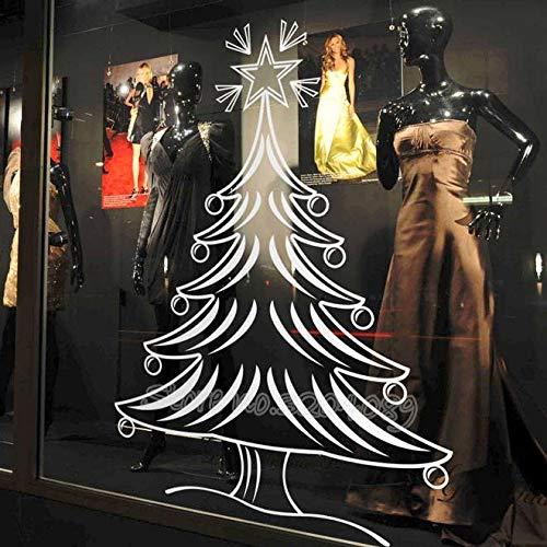 Feliz árbol de navidad etiqueta de la pared calcomanía de vinilo Inicio decoración de la habitación de la ventana tienda de regalos pantalla a prueba de agua de alta calidad Mural 56X68CM