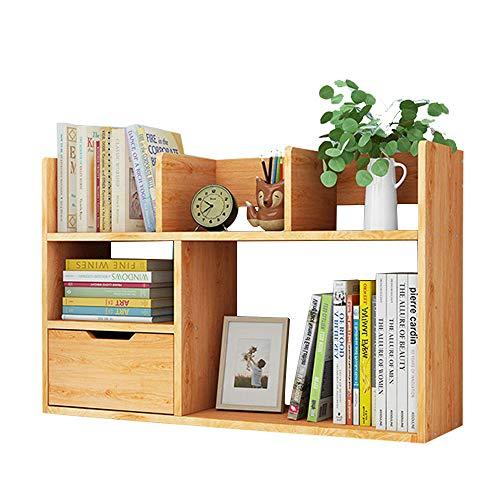 NUODWELL - Libreria da tavolo con cassetto, organizer fai da te, multifunzione da tavolo, per riporre oggetti per ufficio e casa, in legno
