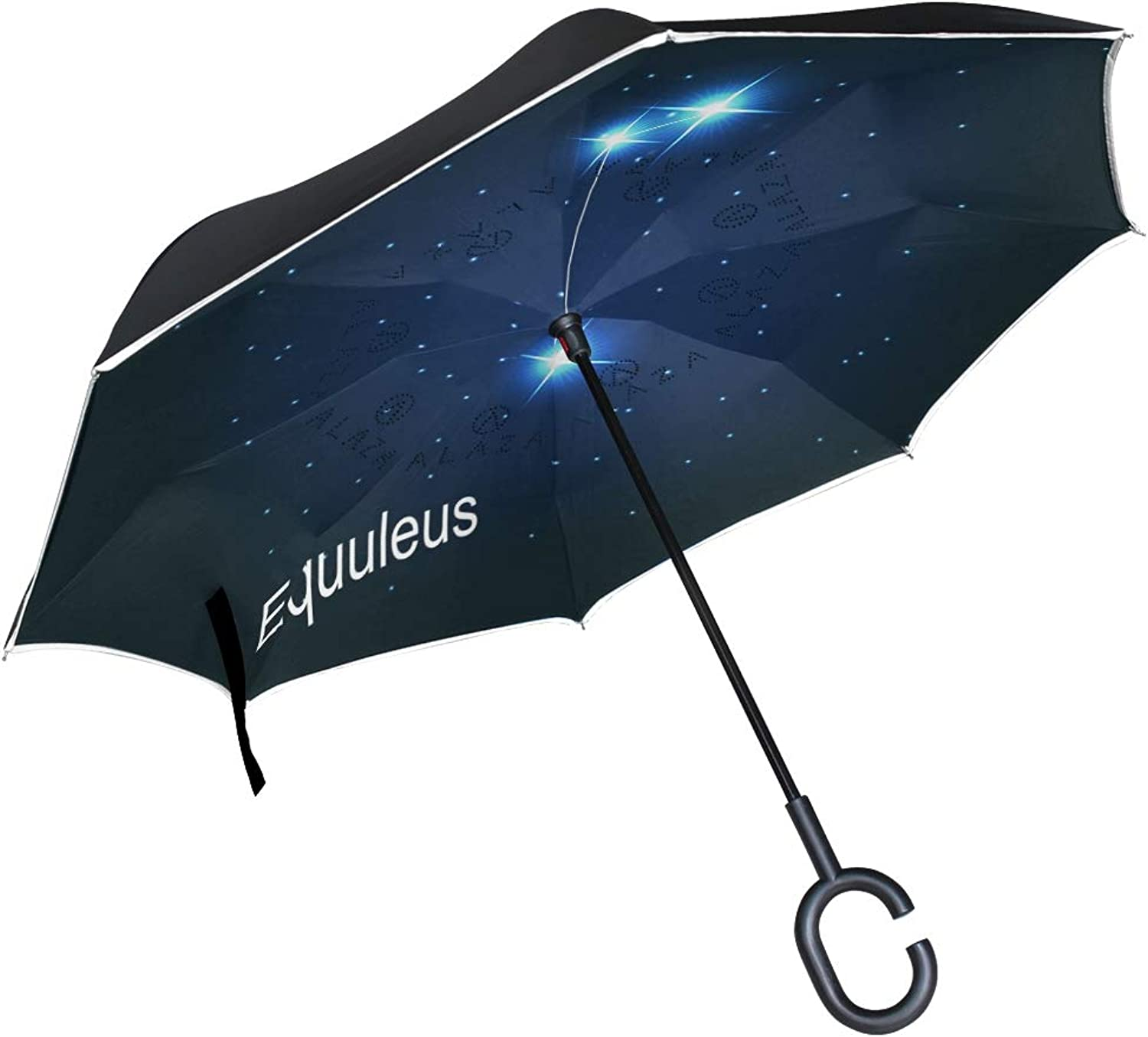 Ingreened Umbrella Double Layer Reverse Umbrella Waterproof Windproof UV Predection Straight Umbrella with CShaped Handle Equuleus Digital Printing for Car Rain Outdoor Use