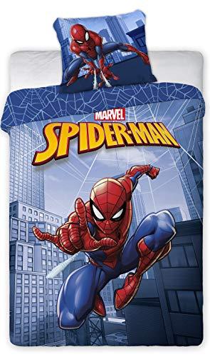 Spiderman Wende Kinderbettwäsche  Set 135x200c 80x80cm ,Linon, 100% Baumwolle