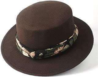 Hat Size 56-58CM Men Women Flat Top Fedora Hat With Ribbon Wide Brim Church Hat Wool Trilby Hat Casual Wild Hat Fashion Hat