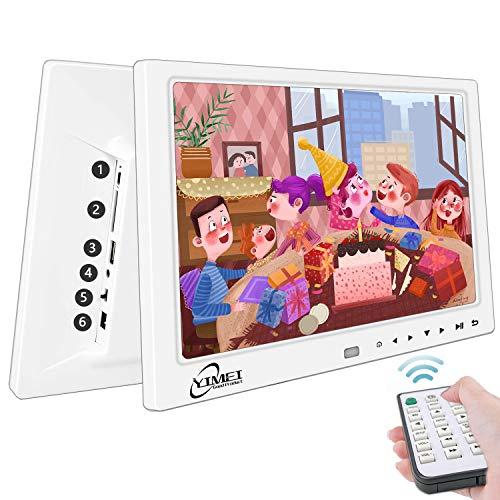 12 Zoll Digitaler Bilderrahmen Full IPS-Display (1920 x 1080) Elektronischer Bilderrahmen Mit Fernbedienung Unterstützt USB SD Karte digital, Wecker Uhr/Kalender/Foto/Musik/Video Player (Weiß)