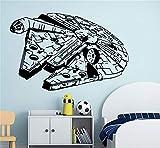 Wall Mural DIY Removable Sticker Decoration Millenium Falcon Star Wars Vinyl Wall Art Decal Black Sticker for Nursery Kid Bedroom Decor