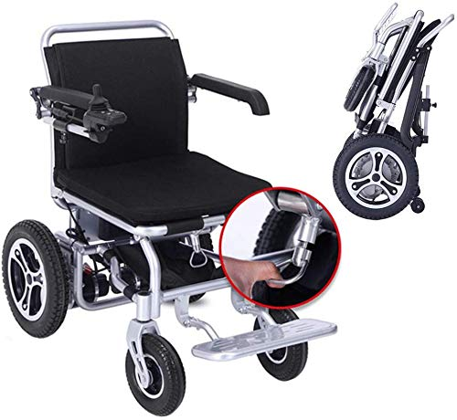 MJK Elektro-Rollstuhl, Deluxe Falten faltbarer Leistung Compact Mobility Aid Rollstuhl, Leichtklapp Carry Elektro-Rollstuhl mit 2 Batterien, Motor Rollstuhl, Leistungsstarke Dual-Motor Rollstuhl