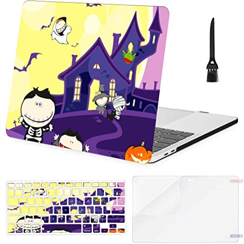 MacBook Air 13 Inch Case Cute Halloween Creatures Scary House MacBook Air11 Case MacBook Pro13 Pro15 Plastic Case Keyboard Cover,Screen Protector,Keyboard Cleaning Brush