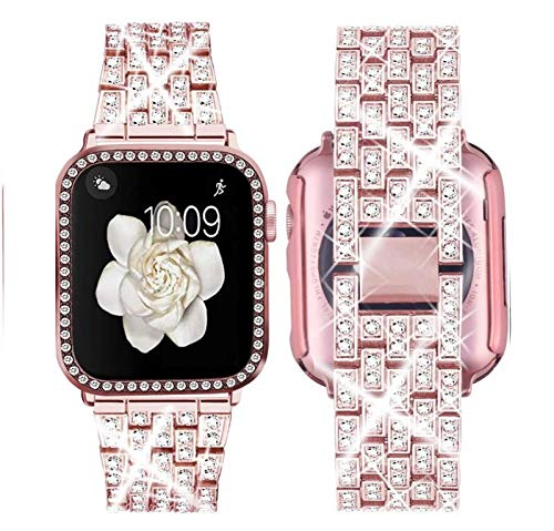 LRJBFC Mira la Correa for IWATCH 5 4 Band 42mm 38mm Acero Inoxidable IWATCH 5 4 Banda de Reloj de Pulsera de la Correa de Accesorios Reloj de 40mm 44mm (Band Color : Rose Pink, Band Width : 38mm)