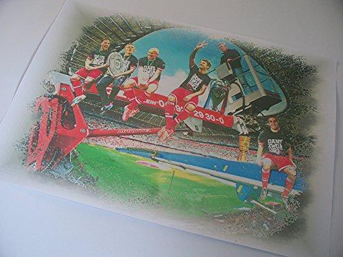 5 FC BAYERN-STARS Triple-Sieger mit Heynckes als Kunstdruck -direkt vom Künstler 30cm x 42cm