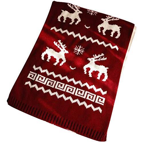 Bufandas de Mujer, borlas de Cachemira de imitación de Invierno de Mujer Copos de Nieve de Navidad Bufandas Calientes Regalos para Amantes de mamá (Vino de Ciervo)