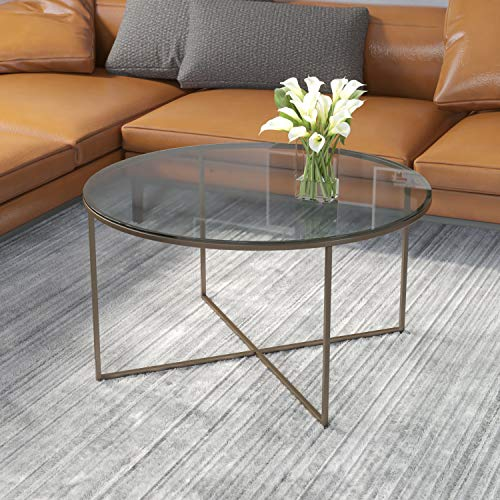 Flash Furniture Greenwich Collection Glass Coffee Table with Matte Gold Frame