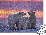 1000 piezas de rompecabezas para adultos, familia de osos polares en el atardecer del Ártico canadiense, juego de rompecabezas clásico, rompecabezas, familia de arte